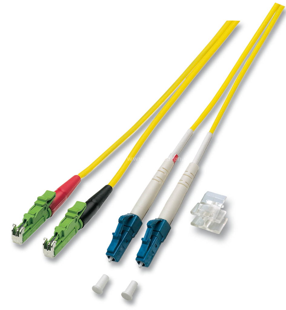 LWL Duplex Jumper-Monomode Länge: 6,0m E2000© APC/8° <> LC  Faser I-VH 2E9/125µ OS2  Kabelfarbe: gelb Inkl. Prüfprotokoll